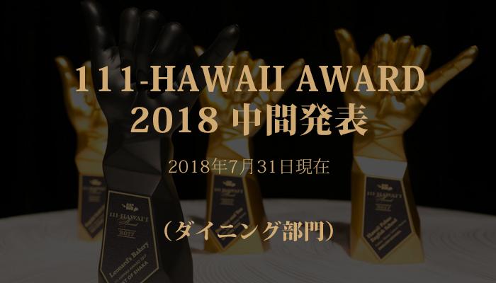 111-HAWAII AWARD 2018(ワン・ワン・ワン ハワイ アワード2018)中間ランキング発表!(ダイニング部門)