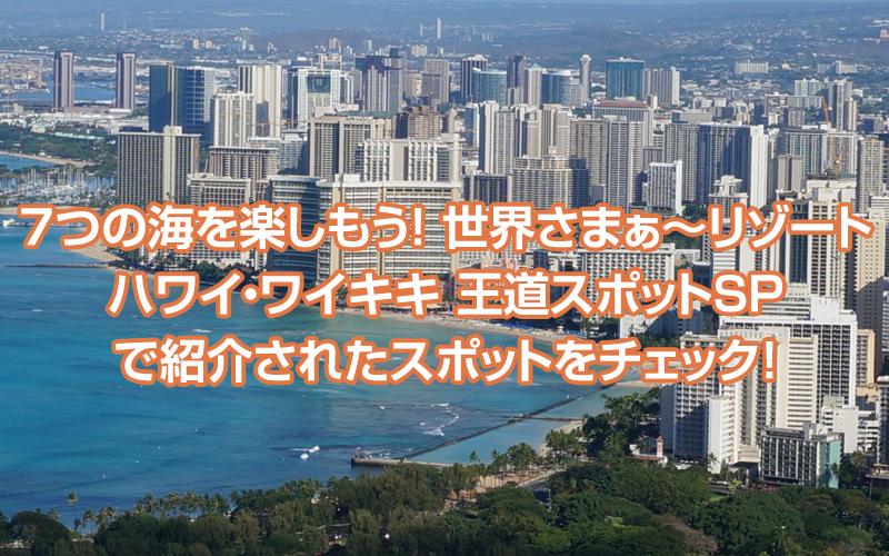「7つの海を楽しもう!世界さまぁ~リゾート ハワイ・ワイキキ 王道スポットSP」で紹介されたスポットをチェック!
